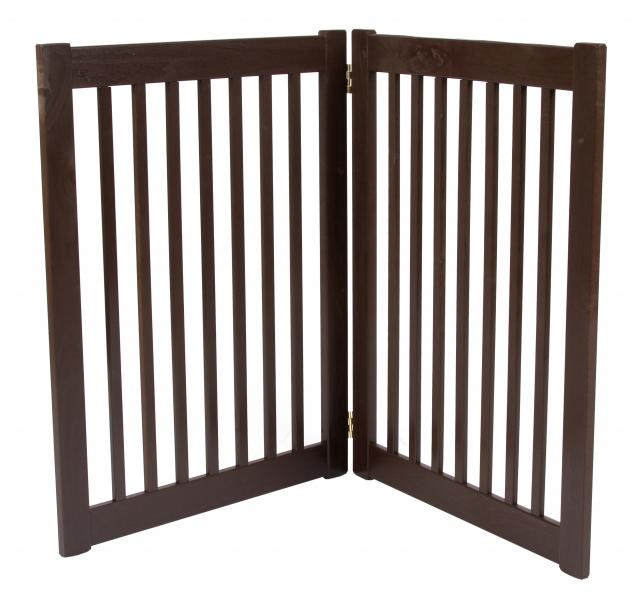 Free Standing 2 Panel 32 Inch Pet Gate Mahogany 42222