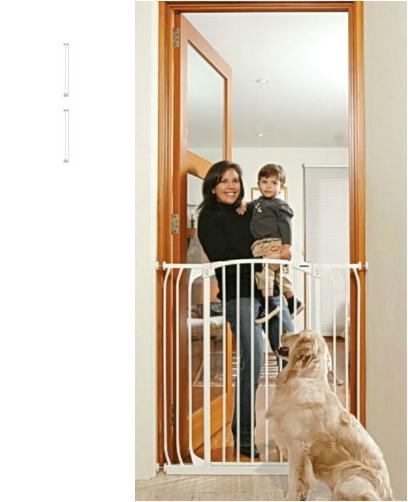 Bindaboo Extra Tall Hallway Pet Gate Plus Two 3 5 White