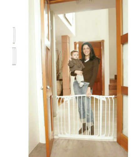 swing close hallway pet gate combo u2013 white 38 to 53 inches