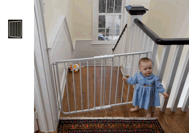 Stairway Baby Gate 21 75 Inch Ext White 49 To 64 25