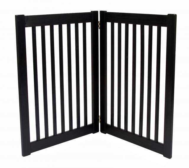 Free Standing 2 Panel 32 Inch Pet Gate Black 42422