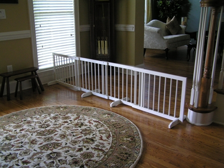 Step Over Wood Pet Gate with Extension White