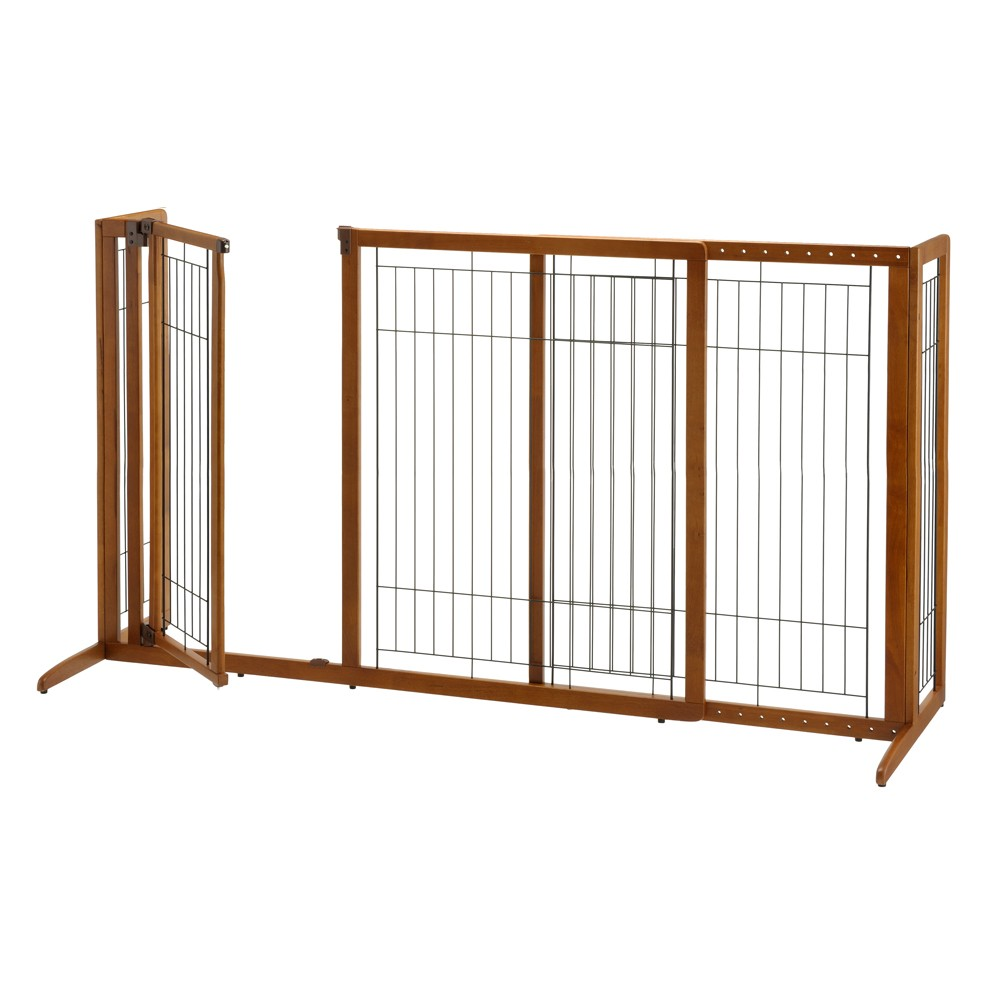 Deluxe Freestanding Pet Gate With Door Large U2013 Brown (61.8 To 90W,36.2H) |  Baby And Pet Gates