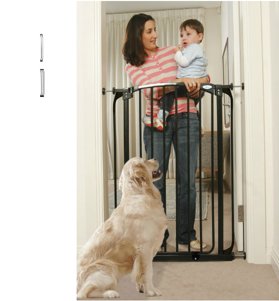 Extra Tall Combo Swing Close Security Baby Gate Black
