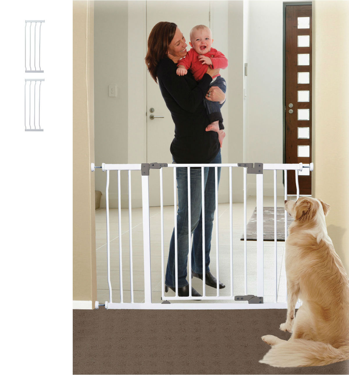 Liberty Xtra Hallway Security Baby Gate Plus Two 10.5 \u2013 White (60 to 63W) & Baby and Pet Gates | Wide Tall Gate for Child Dog Stairs Safety