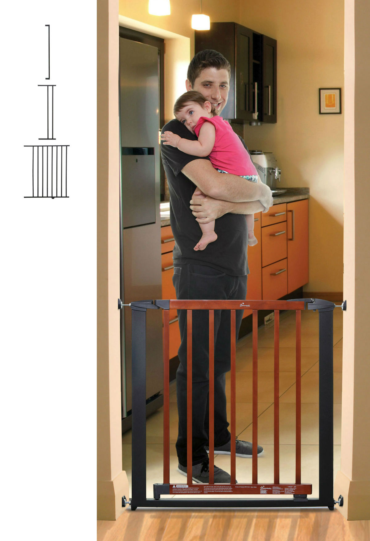 Windsor Pressure Mounted Baby Gate Plus 7 + 22 U2013 Charcoal W/Cherry Color  Wood (59 To 63.5W)